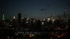 Midtown Manhattan skyline at night, NYC - stock footage