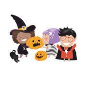 Children trick or treating in Halloween costume Stock Illustration