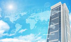 Skyscraper with graphs and world map - stock illustration