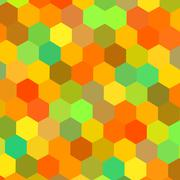 Colorful hexagons illustration. Color art. Warm color mix. Happy holiday back. - stock illustration
