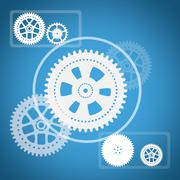 Cog wheels with squares on blue Stock Illustration