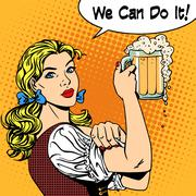 girl waitress with beer says we can do it - stock illustration