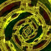 Green circular fractal artwork. Mad mind. Fractal art style. Modern decor. Piirros