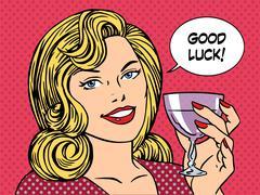 Beautiful woman toast glass wine good luck Stock Illustration