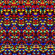 Psychedelic colorful symmetric pattern. Art deco. Red blue yellow colored paper. - stock illustration