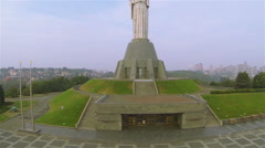 Kiev city,  Ukraine. Up over Motherland Giant Monument  of Soviet time .Aerial  Stock Footage