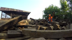 Working with railroad sat down to rest on the old sleepers Stock Footage