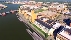 Scenic Downtown Green Bay Wisconsin Aerial Tour of Waterfront Stock Footage
