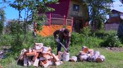 Man chopping wood Stock Footage