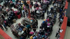 Luggages, bags and shoes on sale at mall - stock footage