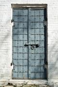 Old steel door to Archangel Michael Cathedral - stock photo