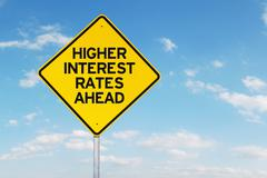Higher Interest Rates Roadsign - stock illustration