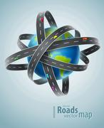 World planet circled by net of roads - stock illustration