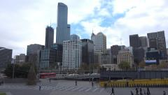 Melbourne CBD  Pedestrians on  the Southbank Stock Footage