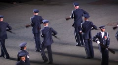 Strong performance with rifle - american military parade Stock Footage