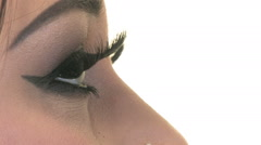 Fake Eyelashes, close up - stock footage
