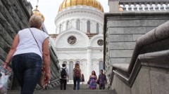Muscovites And Tourists Going Down The Stairs From The Cathedral Stock Footage