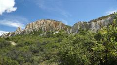 Putangirua Pinnacles at Aorangi Ranges valley. New Zealand - stock footage