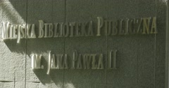 John Paul II Municipal Public Library Lettering Signboard On The Wall Sunlight - stock footage