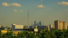 Moscow city, skyscrapers, time lapse Stock Footage
