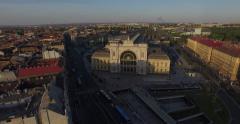 Budapest Keleti Train Station (Aerial). 4K Stock Footage
