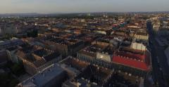 Flying above roofs of wonderful Budapest city Stock Footage