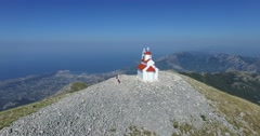 Chapel on top of Mount Rumija, Bar city, Montenegro Stock Footage