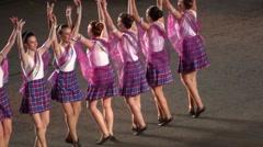 Dancer at parade. Performance at military tatoo show, Edinburgh Castle, Scotland Stock Footage