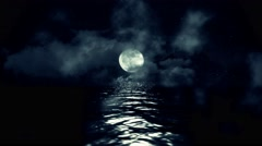 Full Moon with Starry Night Reflecting Above the Water with Clouds and Mist 4K Stock Footage