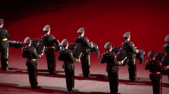 Musicians, performers, orchestra at Chinese Military Parade. Audio - stock footage