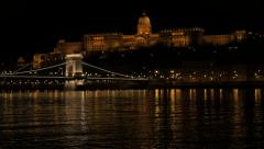 Famous Szechenyi Chain Bridge  and royal palace  Danube Budapest reflection b Stock Footage