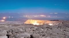 Panning shot of Night time-lapse at Masada. Stock Footage
