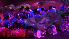Chinese dancers parade , dragon , colorful costumes , army and music - stock footage