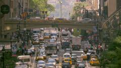 New York City busy street traffic rush hour cars commute jam Manhattan NYC day - stock footage