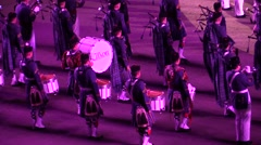 Edinburgh Castle. Bagpipes military parade. Audio Stock Footage