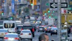 Busy congested street traffic unrecognisable jammed cars day New York City NYC - stock footage