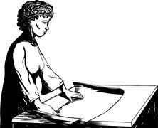 Outline of Female Architect - stock illustration