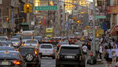 Chaotic street traffic rush hour cars jam Manhattan New York City NYC day Stock Footage