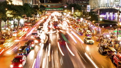 Traffic Time - Lapse Light Trails Bankgok Ratchaprasong Stock Footage