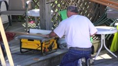 Man using electric table saw, cutting wood Stock Footage