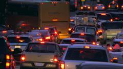 Stock Video Footage of Manhattan congested street traffic jam rush hour cars New York City NYC night