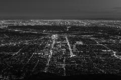 Gelndale and Los Angeles Night Aerial Black and White - stock photo