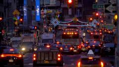 Manhattan busy street traffic jam rush hour cars congested New York City NYC - stock footage