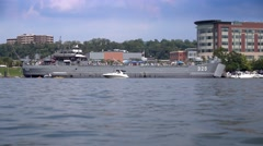 LST-325 Docked on Pittsburgh North Shore Stock Footage