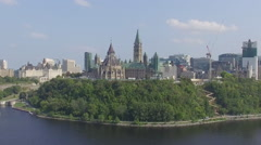 South facing aerial approach on Parliament Hill Stock Footage