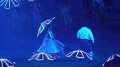 Indian bollywood dancers,Indian wedding.Show with umbrellas and lights Stock Footage