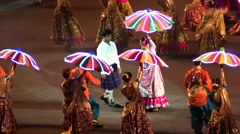 Indian bollywood dancers.Indian wedding. Performance with umbrellas and lights Stock Footage