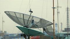 Stock Video Footage of Satellite Antennas on Roofs
