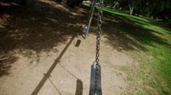 Close Up View of empty Swingset Stock Footage