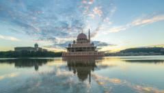 Epic Sunrise At Putra Mosque, Putrajaya. Tilt up. Stock Footage